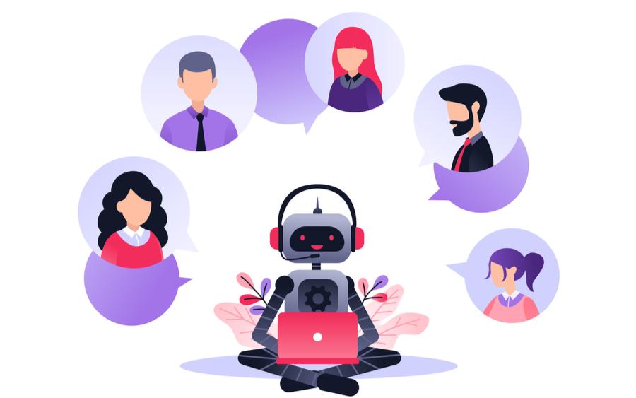 Chatbot hablando con usuarios