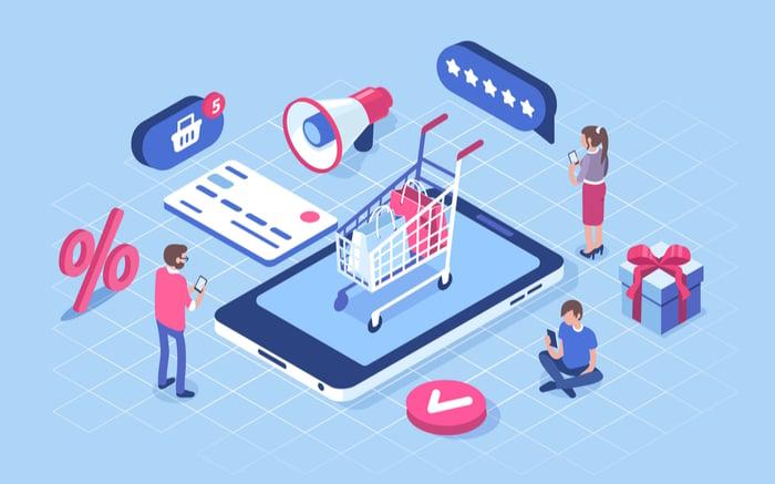 Conjunto de elementos gráficos (dibujos) que pertenecen a un eCommerce (un carrito de compra, una tarjeta de crédito, descuentos, carrito de la compra, valoraciones, promociones, etc)