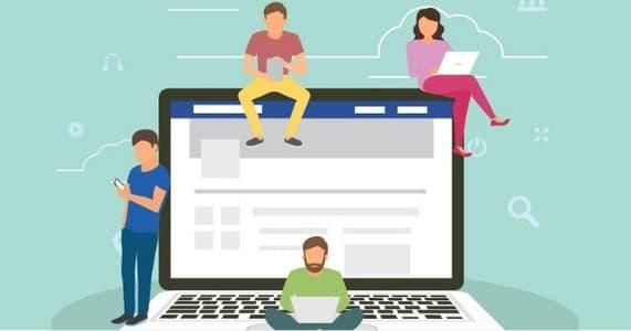 Ilustración de 4 personas trabajando alrededor de un portátil que muestra la interfaz de Facebook.