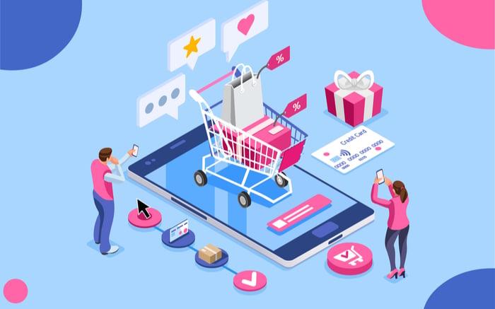 Representación gráfica de un eCommerce mediante elementos representativos (carrito de la compra, valoraciones, puntuaciones, descuentos, tarjeta de crédito, etc).