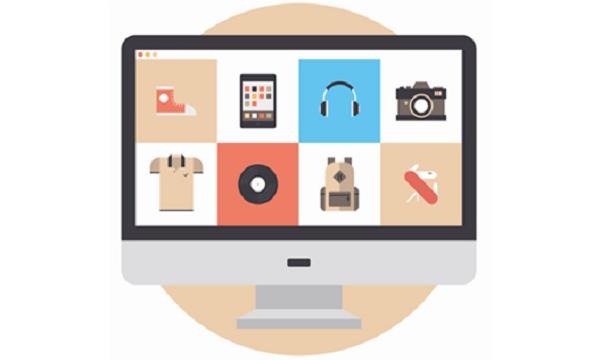 Pantalla de ordenador abierta con 7 iconos visibles (zapato, iPad, auriculares, cámara de fotos, camiseta, vinilo y mochila)
